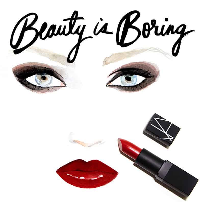 Regina Yazdi, Robin Black, Beauty is Boring, Illustrated Beauty, NARS, NARS Semi Matte Lipstick VIP Red